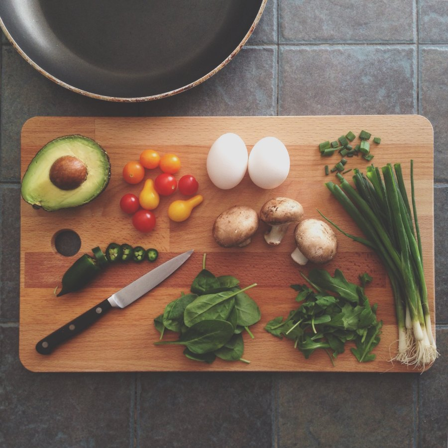 cutting board with potentially allergenic foods