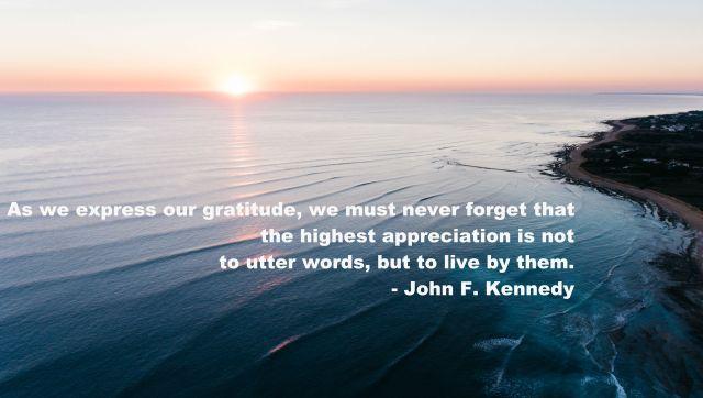 John F. Kennedy quote gratitude