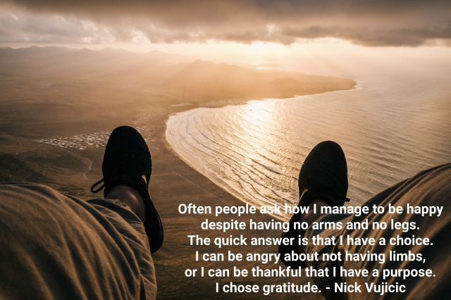 Nick Vujicic quote thanksgiving