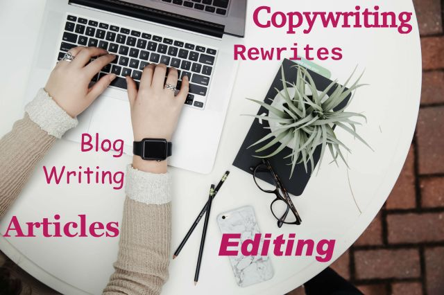 Freelance writer and blogger working on copywriting project