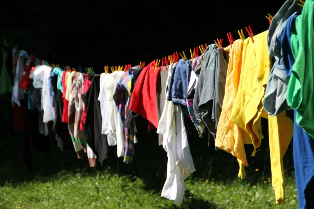 long line of laundry