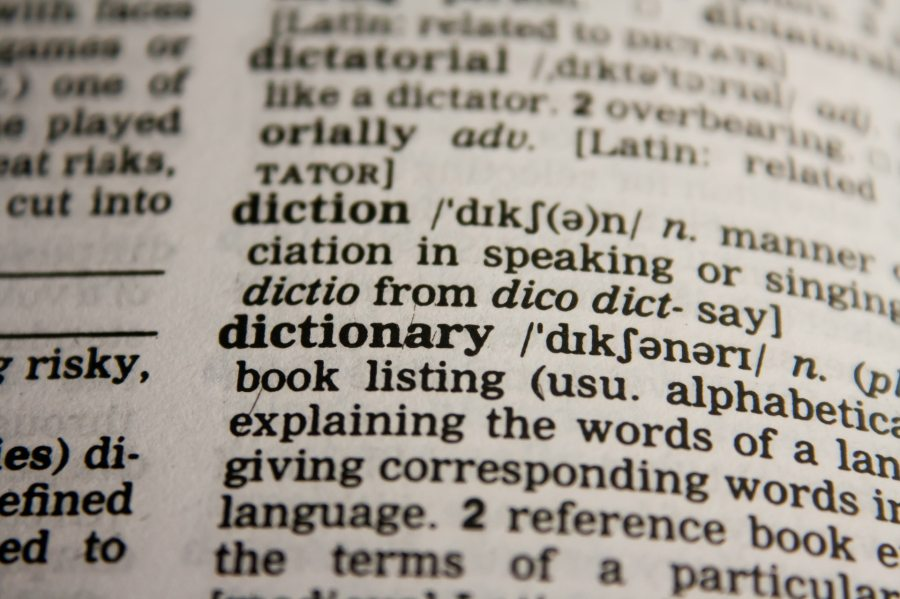 "dictionary opened to definition of ""dictionary"""