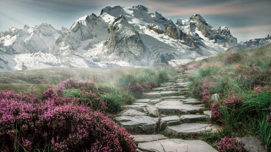 journey to health symbolized by journey through mountains