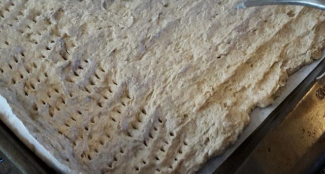 poking holes in quinoa cracker batter