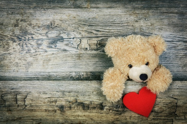 Stuffed bear holding heart