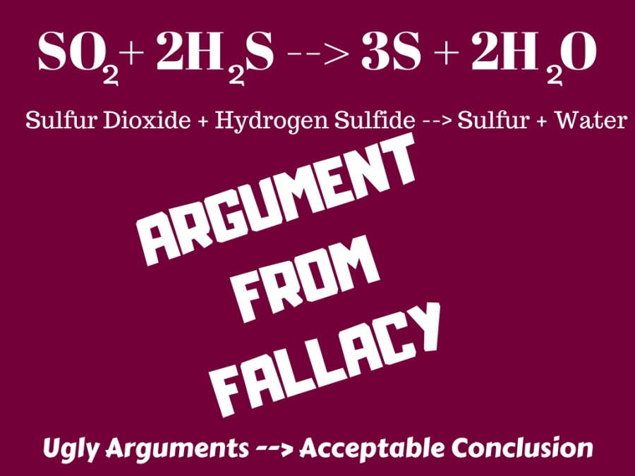 argument from fallacy - or fallacy fallacy - illustration - chemistry, chemical equation, sulfur dioxide, hydrogen sulfide, sulfur, water, dihydrogen oxide